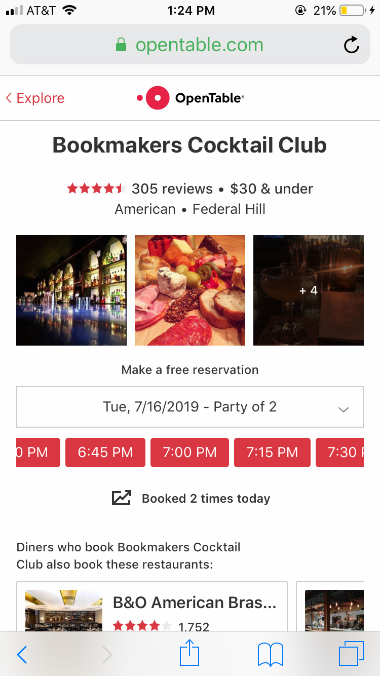 Screenshot of OpenTable's mobile experience showing a restaurant's details.