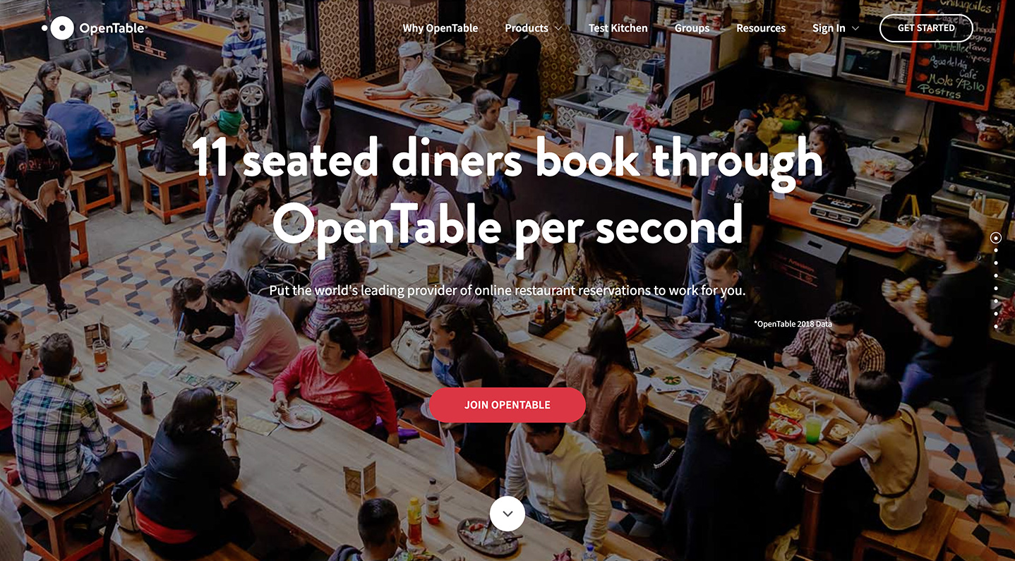 Screenshot of OpenTable's restaurateur-focused landing page.