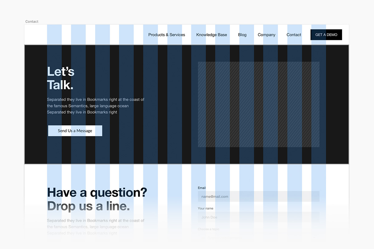 A web grid overlaying a simple design.